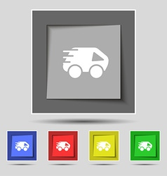 Car icon sign on original five colored buttons vector