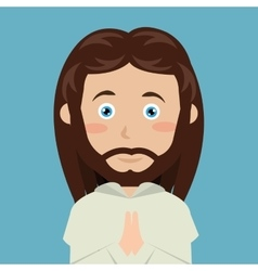 cartoon face Jesus christ blue eyes design vector image