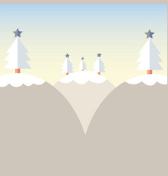 flat design christmas tree on mountain with snow vector image