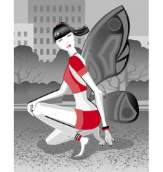 girl butterfly vector image vector image