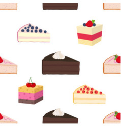 Pattern of hipster cakes cheesecakes pies pastry vector