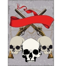 Pirate Poster with skulls vector image