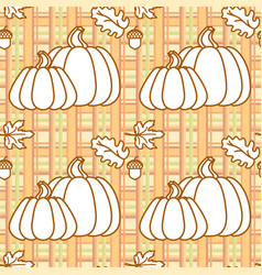 seamless pattern with pumpkins acorns and leaves vector image vector image
