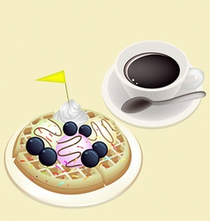 Hot Coffee with Waffle and Ice Cream vector image vector image