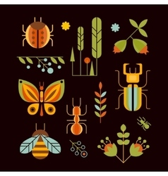 Nature Insects and Tree Icons vector image vector image