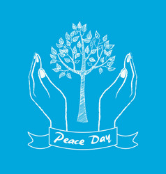 peace day symbol with hands taking care about tree vector image