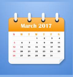 usa calendar march for 2017 vector image vector image