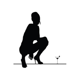 woman sensual silhouette with martini glass vector image
