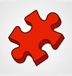 cartoon puzzle piece icon vector image
