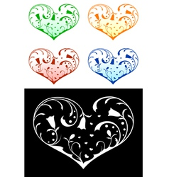 hearts with floral decorations vector image