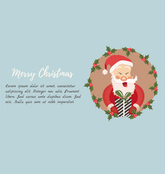 holiday card with funny santa claus and wreath vector image