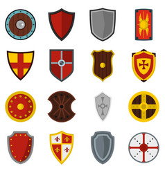 shield frames set flat icons vector image
