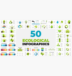 50 ecological infographic templates presentation vector image