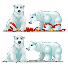 a set animated polar bears and a festive red vector image