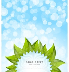 Abstract blue background with leaves vector image