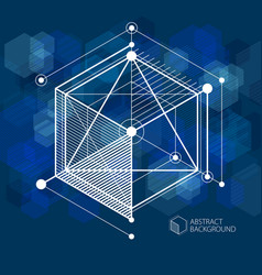 Abstract geometric 3d cube pattern and dark blue vector