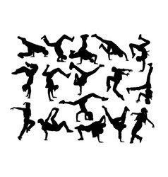 actractive hip hop dancer silhouettes vector image