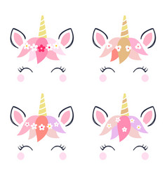 Adorable unicorn heads isolated on white vector