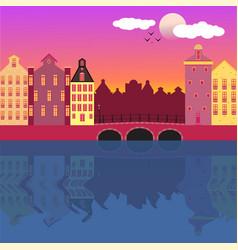 amsterdam street facades cartoon vector image