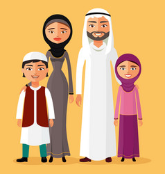 arab family is happy together father mother vector image
