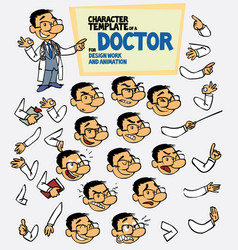 Asian doctor face and body elements parts of body vector