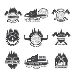 Badges set for wood working industry vector