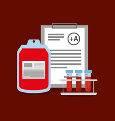bag blood test tube on rack and clipboard vector image