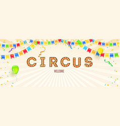 banner with invitation for party in circus retro vector image