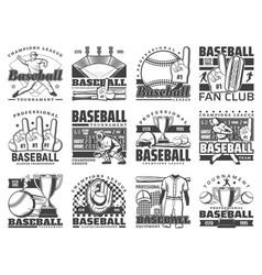 baseball sport ball bat stadium and player icons vector image