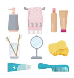 Bathroom accessories personal hygiene items vector