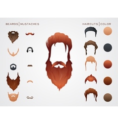 Beards and Mustaches Hairstyles constructor vector image