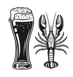 Beer glass and crayfish black objects vector