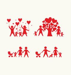 big set of happy family vector image