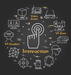 Black virtual reality concept - interaction vector