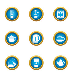 Brewing teapot icons set flat style vector