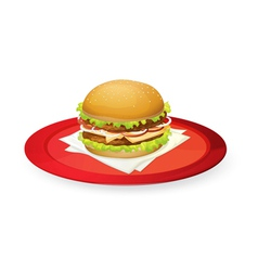 burger in red dish vector image