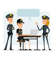 Cartoon flat police officers funny characters vector