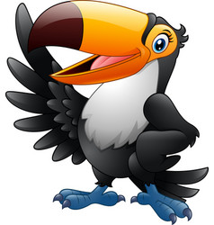 cartoon funny toucan waving wing isolated on white vector image