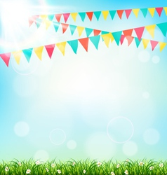 Celebration background with buntings grass and vector image