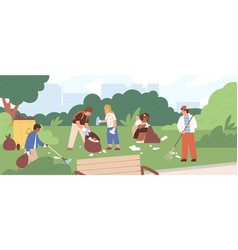 Children cleaning park from garbage group kids vector
