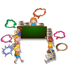 Children reading books and writing on board vector image