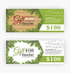 Christmas leaves border theme gift voucher vector