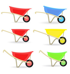collection of colorful wheelbarrows carts for vector image
