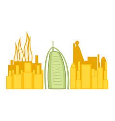 colored cityscape of dubai with burj al arab vector image