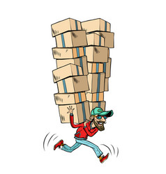 courier with boxes fast delivery of cargo vector image