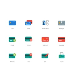 Credit and payment card colored icons on white vector image