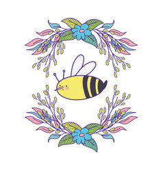 Cute and little bee with wreath flowers vector