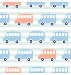 cute buses seamless pattern wallpaper vector image
