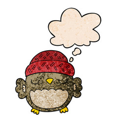 Cute cartoon owl in hat and thought bubble in vector