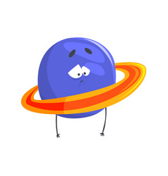 Cute humanized uranus planet character sphere vector